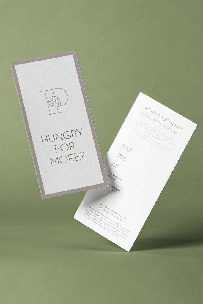 Leaflet für das Restaurant Parkview für das Luxushotel The Fontenay in Hamburg